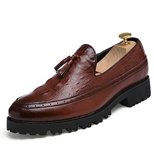 L-YIN Borlas para Hombres para Hombres Redondo Moc Toe Burnish Stitching en Relieve Bloque de Cuero sintético talón Tacón de Goma Grueso Sole Solid Slip-Ons Black, Marrón, Rojo