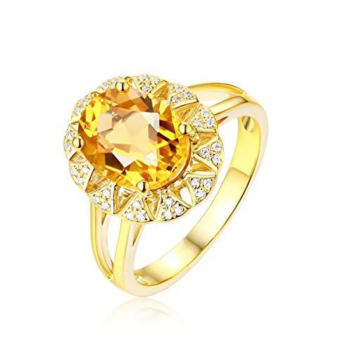 AueDsa Anillo Amarillo Anillo de Mujer Oro Amarillo 18K Oval Citrino Amarillo Blanco 2.38ct Anillo Talla 8