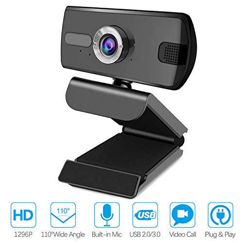 Webcam mit Mikrofon, 1296P Full HD Webcam, USB 2.0/3.0 Plug and Play Computer Webcam für PC, Laptop, Live-Streaming, YouTube, Spiele, Skype, Videoanrufe und Konferenzen