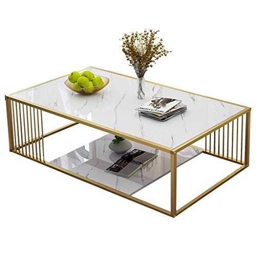 NJYT Couchtisch Teetisch Wohnzimmer Kleiner Wohnung Einfacher Metallrahmen Modernes Design Teetisch Sofa Beistelltisch (Color : White Gold, Size : 120x60x40cm)