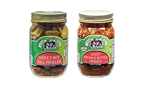 Amish Wedding Foods Sweet Hot Dill and Zesty Bread & Butter Pickle Chips 15 oz. Jars Variety 2 pack