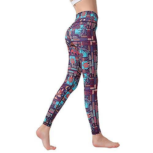 Opprxg Pantalones de Yoga Europeos y Americanos para Mujer, bañadores Deportivos Estampados, Trajes de baño, Pantalones de Buceo, elásticos y de Secado rápido XL