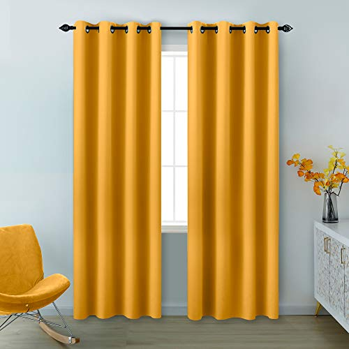 Yellow Curtains 96 Inches Long for Living Room Pair Set of 2 Panels Grommet Room Darkening Blackout Window Curtains for Bedroom 52 x 96 Inch Length Mustard Yellow