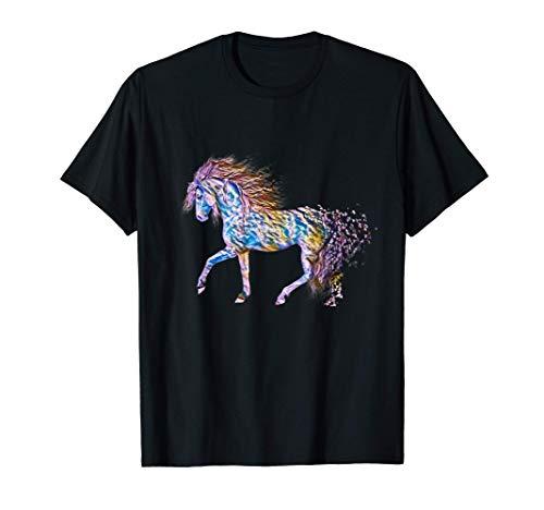 Hengst mit bunter Mähne Motiv Pferd Tiermotiv Pferde reiten T-Shirt