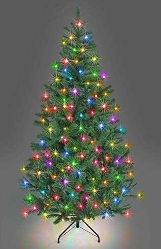 SHATCHI Pre-Lit Alaskan Pine Artificial Christmas Tree with LEDs Metal Stand Tips Xmas Holiday Home Decorations, 4Ft-12ft Black/White, Green W/Multicolour, 7Ft/210CM