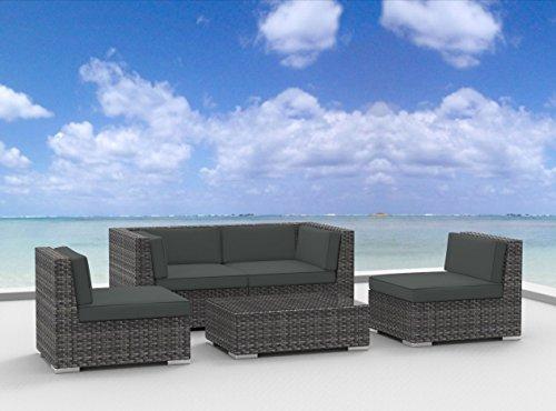 Hot Sale Urban Furnishing - RIO 5pc Modern Outdoor Backyard Wicker Rattan Patio Furniture Sofa Sectional Couch Set - Charcoal