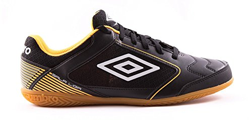 UMBRO Sala Liga IC Botas, Hombre, Negro (Black/White/Orange Pop), 43