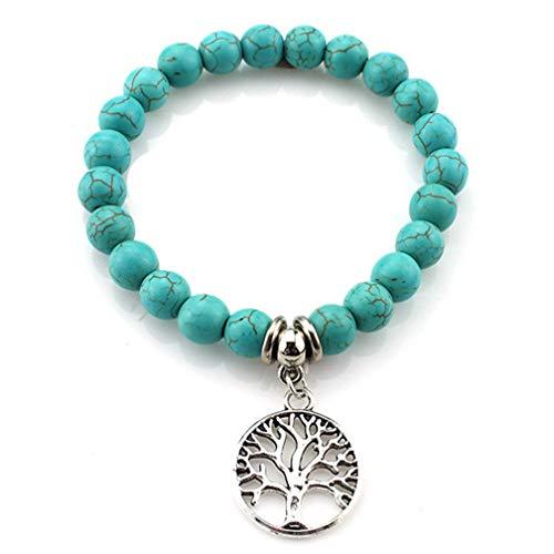 LJSLYJ Naturstein Perle Baum Eule Stretch Armband Naturstein Armband Strand Schmuck,Baum