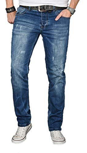 Alessandro Salvarini Designer Herren Jeans Hose Regular Slim Fit Jeanshose Basic Stretch [AS-055 - W38 L32] , Mittelblau Used