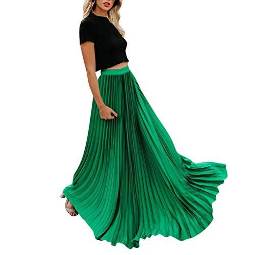 Xmiral Damen Faltenrock Hohe Taille Vintage Falten Vintage Lose Strand Wrap Knöchellänge Polyester Kleid(3XL,Grün)