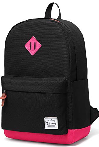 Vaschy Classic Lightweight Backpack for Womens Fits 15-Inch Laptop Water Resistant Campus School Rucksack Travel Daypack (Black Fuchsia)