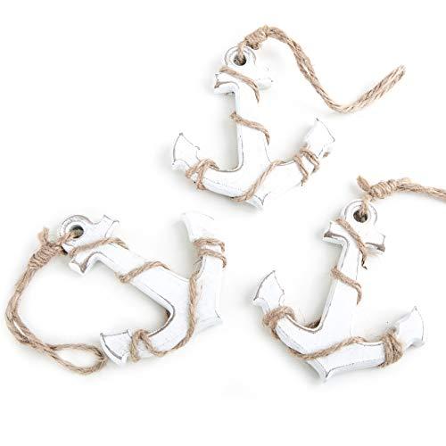Logbuch Verlag   3 pequeños Anclajes de Madera con Colgante de Ancla Blanca en la Cuerda, 10 cm, para Colgar como símbolo de decoración marítima, Amuleto de la Suerte, Matrimonio, Fuerza