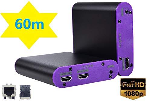measy CAT870 HDMI Extender 60m 1080P HDMI Repeater Bis zu 200 Fuß über einzelne Cat 6 Ethernet-Kabel für PC DVD Sky HD Box ...
