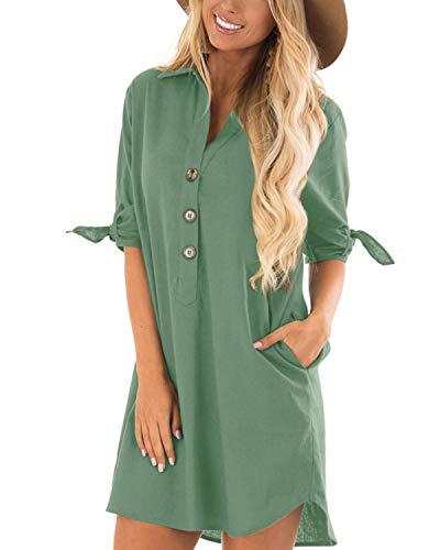 CNFIO Sommerkleid Damen Elegant Kleider V-Ausschnitt 1/2 Ärmel Einfarbig Shirt Design Kurz Blusenkleid Minikleid Strand Kleider Hellgrün EU40-42