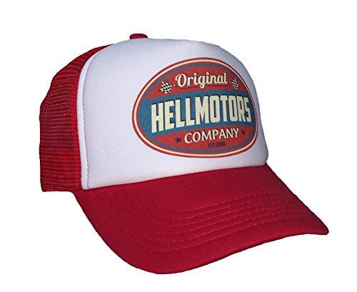 HELLMOTORS Kinder Trucker Cap Rot Weiss V8 Old School Hot Rod Cappy Basecap
