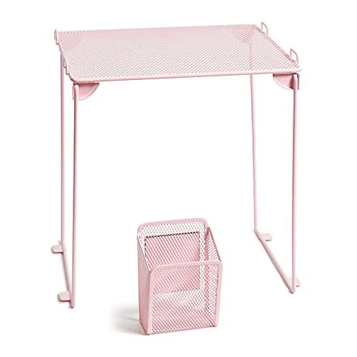 U Brands Blush Mesh Locker Organization Kit, Includes Magnetic Cup and Folding Shelf, 2 Pieces