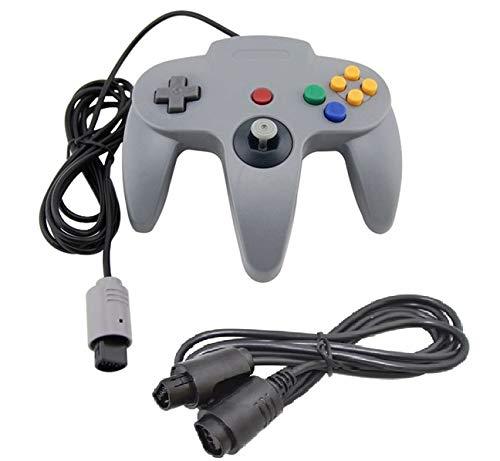 DARLINGTON & Sohns Grauer Controller für Nintendo 64 N64 Joystick Grau Gamepad Joypad + Verlängerung Extansion Verlängerungskabel Gamepad