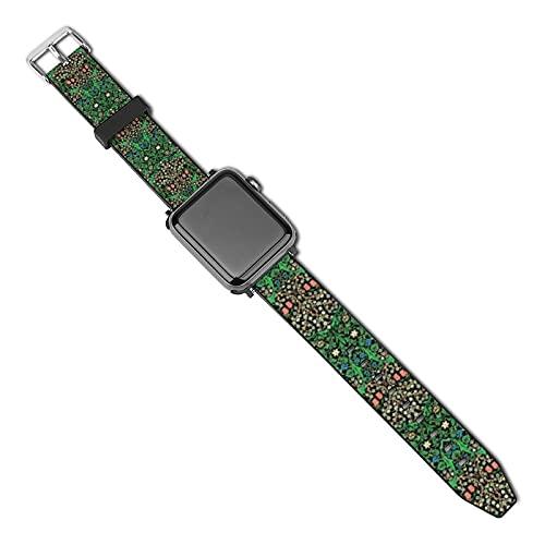 La última correa de reloj compatible con Apple Watch Band 38 mm 40 mm Correa de repuesto para iWatch Series 5/4/3/2/1, William Morris Jacobean Floral fondo negro