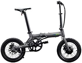 """Qualisports Nemo Folding Electric Bicycle 16"""" Ebike 7Ah Lithium-ion Battery, 36V/250W Hub Motor, Max Speed 16 MPH, 25+Miles, 4 Riding Modes Hybrid Bikes for Adults(Silver)"""