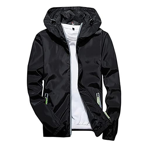 Sudadera con capucha de los hombres al aire libre deporte abrigo casual color puro más tamaño chaqueta reflectante cremallera, Negro, XXXXL