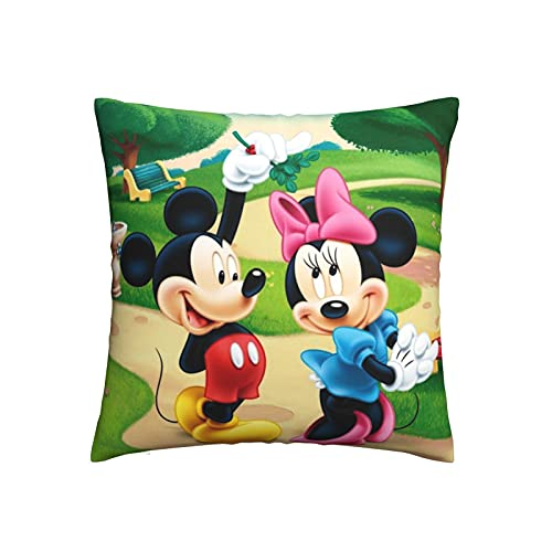 wteqofy Mic-Key Mou-se Pillow Case Square Cushion Cover for Sofa Bed Living Room Couch Chair Home Decorations Decor