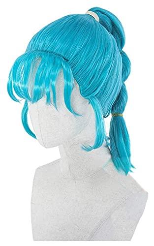 ドラゴンボールブルマコスプレウィッグブルーツイスト編組髪の女の子女性ハロウィーンカーニバルパーティーギフト Seupeak