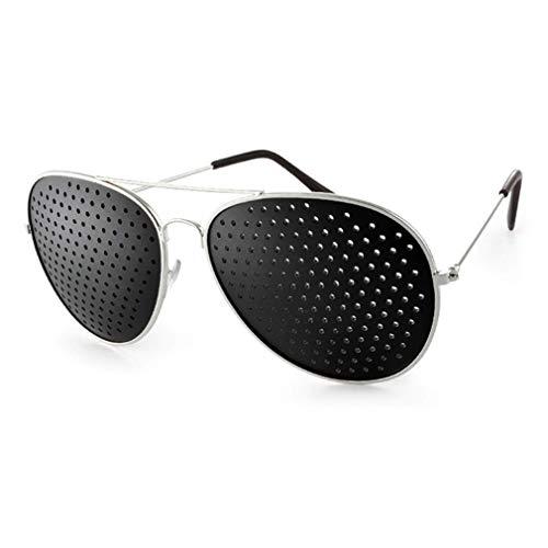 Rasterbrille im stylischen Metall Lochbrille für Augentraining zur Entspannung und gezieltem Training