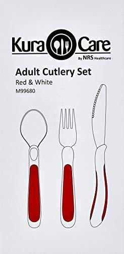 NRS Healthcare M99680 Rot/Weiß Kura Care Besteck für Erwachsene
