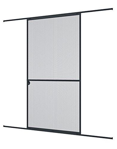 Windhager Insektenschutz Expert Schiebetür Fliegengitter Aluminirumrahmen für Türen, 120 x 240 cm, anthrazit, 04318