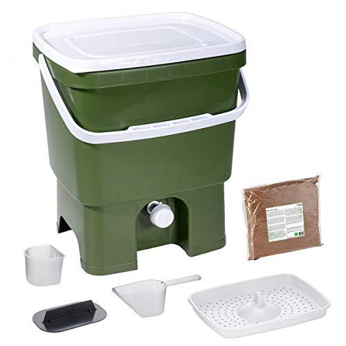 Skaza Bokashi Organko (16 L) Garten- und Küchenkomposter aus Recyceltem Kunststoff | Starterset mit EM Fermentationsaktivator 1 kg (Olive-Weiß)