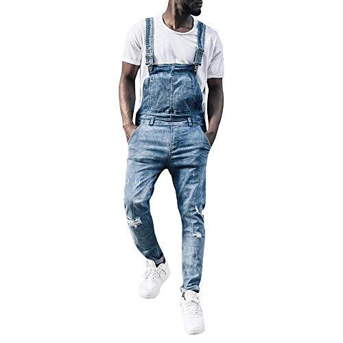 Peto Vaquero para Hombre Pantalones de Mezclilla Mono Jeans de Trabajo Bolsillo Rotos Liga Babero pantalón Largos Denim Pantalones Casual Slim fit Mezclilla Jumpsuit (2XL(EU=84), Azul)