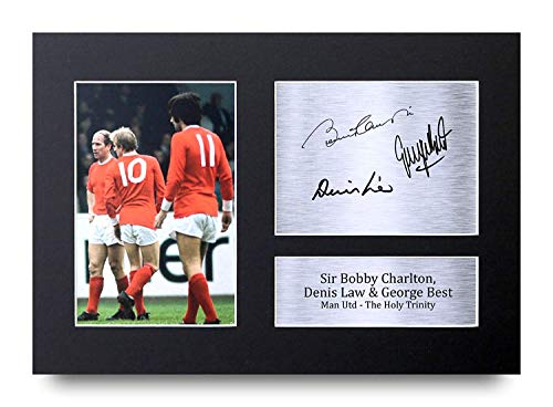 HWC Trading Denis Law, George Best & Bobby Charlton Gift Signed A4 Printed Autograph Manchester United Gifts Photo Display
