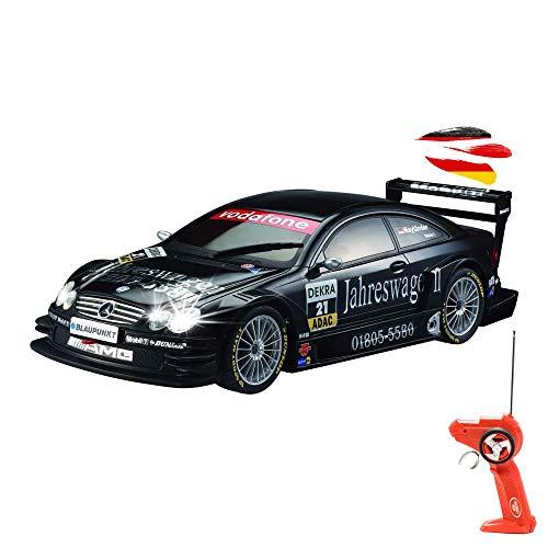 Coche con licencia teledirigido en diseño original Mercedes-Benz CLK-DTM Rally Design, coche en escala 1:28 con iluminación, incluye mando a distancia.
