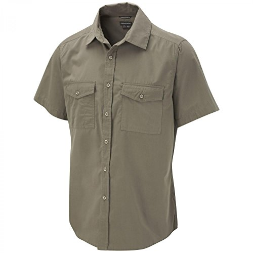 Craghoppers - Kiwi - Chemise manches courtes - Homme - Beige (Pebble) - FR: 50 (Taille Fabricant: S)