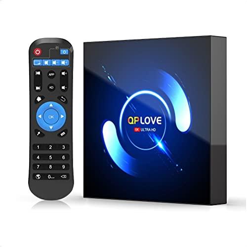 Android TV Box 10.0, 4GB RAM 32GB ROM QPLOVE Q6 TV Box Android H616 Quad-Core CPU Mali-G31 GPU Soporte 3D 6K Dual WiFi 2.4/5GHz Bluetooth 5.0 Ethernet 100M H.265 Smart TV Box