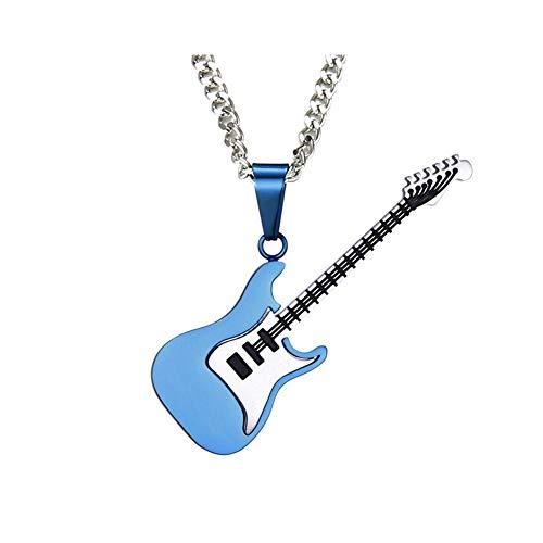 BlackAmazement Kette mit Anhänger 316L Edelstahl E-Gitarre Guitar 600mm 3 mm Halskette Silber Gold schwarz Damen Herren (Blau)