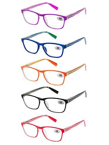 Pack 5 Gafas Lectura Vista Cansada Presbicia, Graduadas Dioptrías +1.00 hasta +3.50, con Montura de Pasta, Bisagras de Resorte, Para Leer, Unisex (+250 (833))