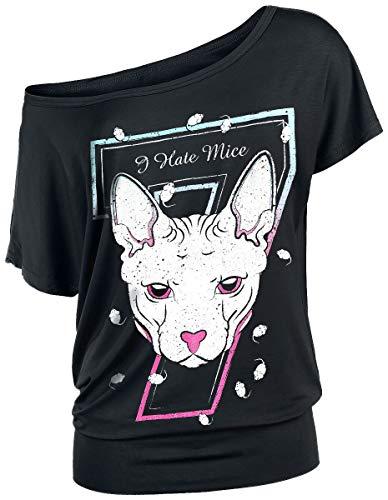 Full Volume by EMP Schwarzes T-Shirt mit Rundhalsausschnitt und Print Mujer Camiseta Negro XL