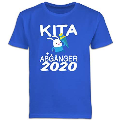 Einschulung und Schulanfang - Kita Abgänger 2020 rennender Hase mit Schultüte - 128 (7/8 Jahre) - Royalblau - 6 Jahre Junge - F130K Schulanfang - Schulanfang Jungen T-Shirt Kinder