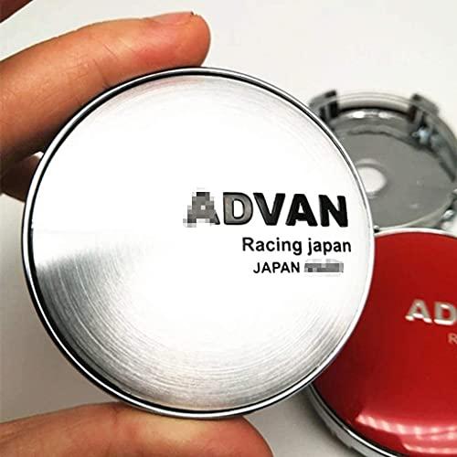 4 Piezas de Cubierta Central de Rueda de Coche, Adecuada para ADVAN Racing Japan 60mm llanta de aleación Cubierta de Cubo Central Forma de Insignia Accesorios de decoración