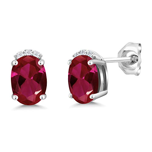 Gem Stone King 925 Sterling Silver Red Created Ruby and White Lab Grown Diamond Earrings For Women (2.06 Ct Oval 7X5MM)