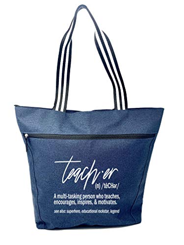 Large Teacher Tote Bags with Pocket - Teacher Definition Blue - Perfect for Work, Gifts for Teacher Appreciation Day (Teacher Definition Blue)