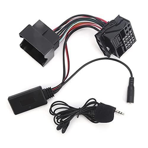 Adaptador AUX de audio para automóvil, adaptador de audio AUX Bluetooth 5.0 de 12 pines con micrófono Reemplazo de cable de 59.1 pulgadas para CD30 CDC40 CD70