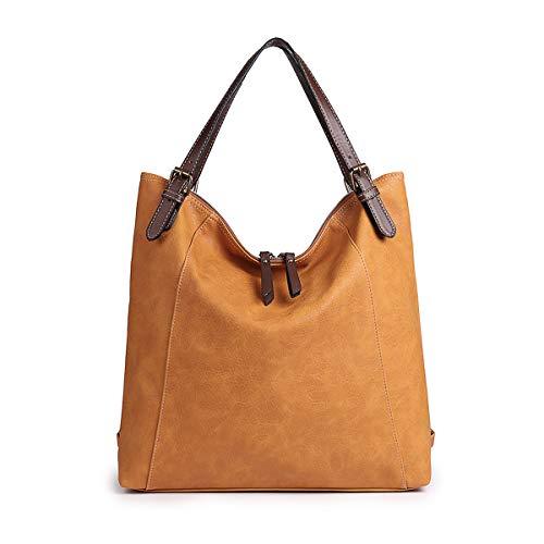 Damen Umhängetasche, Brenice Rindsleder Tote Handtaschen Vintage Multifunktions Rucksack Schultertaschen Crossbody Tasche für Frauen Kamel