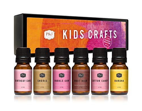 P&J Trading Fragrance Oil | Kids Crafts Set of 6 - Premium Grade Fragrance Oils - Birthday Cake,Smores,Bubble Gum,Root Beer,Cotton Candy, Banana