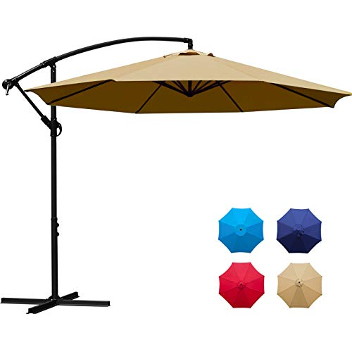 Sunnyglade 10Ft Outdoor Adjustable Offset Cantilever Hanging Patio Umbrella (Tan)