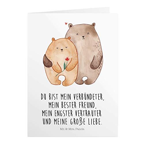Mr. & Mrs. Panda Hochzeitskarte, Geburtstagskarte, Grußkarte Bären Liebe mit Spruch - Farbe Weiß