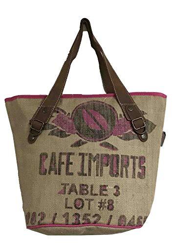 HOGACA coole Damenhandtasche Mod. 1.4 Table 3 in Natur aus Kaffeesack Jutesack