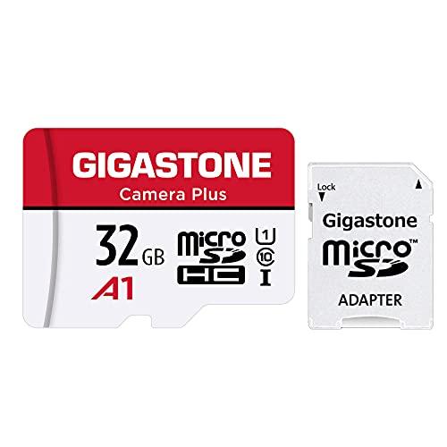 Gigastone Carte Mémoire 32 Go Caméra Plus Série, Vitesse de Lecture allant jusqu'à 90 Mo/s. idéal pour Full HD Vidéo Gopro Caméra Drone Android, U1 Carte Micro SDHC avec Mini étui et Adaptateur SD.