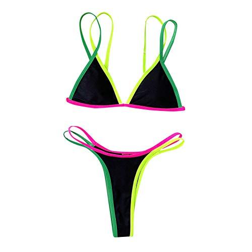 Bikini sexy push up para mujer, traje de baño de dos piezas, triangular, cintura alta, para la playa Negro XL